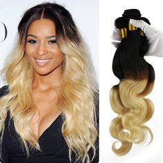 3 Bundle Brazilian Virgin Body wave Human Hair Extension 150g Ombre Black-Blonde
