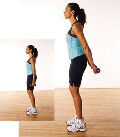 Soulèvements inversés  Tonifient les triceps.  1. Debout, pieds écartés dans…