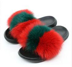 e44571a18eb9 Women Fur Slippers Luxury Real Fox Fur Beach Sandal Shoes Fluffy Comfy Furry  Flip Flops