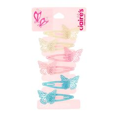 855d0bc01 Claire's Club Pastel Butterfly Snap Hair Clips - 6 Pack, Butterfly Hair, 6  Packs