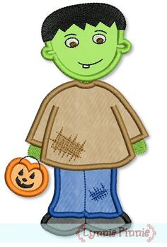See It All - Cutest Li'l Frankenstein Applique 4x4 5x7 6x10 - Welcome to Lynnie Pinnie.com! Instant download and free applique machine embroidery designs in PES, HUS, JEF, DST, EXP, VIP, XXX AND ART formats.