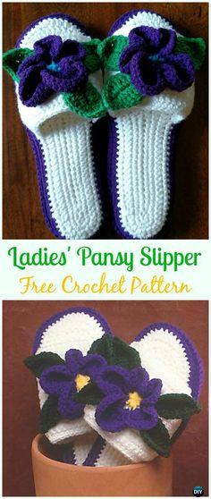 Crochet LadiesPansy Slipper Free Pattern - Crochet Women Slippers Free Patterns