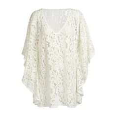 Rotita See Through Batwing Sleeve White Lace Cover Up ($15) ❤ liked on Polyvore featuring swimwear, cover-ups, sheer swimwear, white beach cover up, lace cover ups, lace swim cover up and sheer cover ups