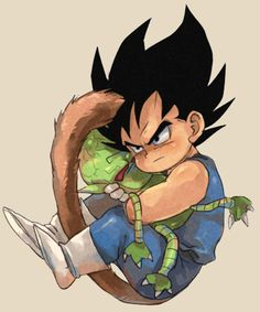 Young Vegeta with his saibaman plushie