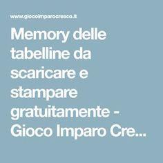Memory delle tabelline da scaricare e stampare gratuitamente - Gioco Imparo Cresco