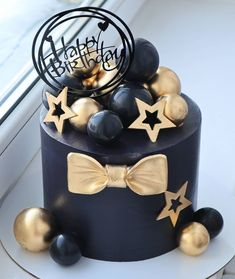 Birthday Cake For Mom, Elegant Birthday Cakes, Mermaid Birthday Cakes, Birthday Cake Pops, Beautiful Birthday Cakes, Happy Birthday Cakes, Black Cake Recipe, Cake Design For Men, Boat Cake