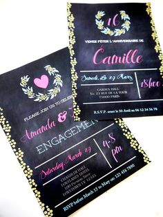 Shop Sweet Sixteen Chalkboard & Glitter Style Birthday Party Printable Invitations | Buy online for a girl's birthday celebrations!