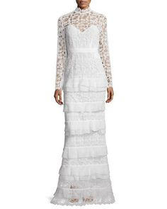 TBTRF Self-Portrait Primrose Long-Sleeve Tiered Lace Gown, White