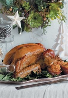French-roast turkey with sage, pear and bulgur wheat stuffing