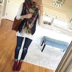dark skinny jeans, plaid blanket scarf, navy blue quilted puffy vest, maroon booties