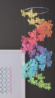 Spiral Paper Butterfly Mobile Chandelier in by TrueLoveAndPaper Butterfly Mobile, Butterfly Crafts, Diy Paper, Paper Art, Paper Crafts, Paper Butterflies, Paper Flowers, Diy Arts And Crafts, Diy Crafts