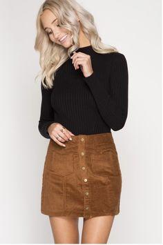 Mustard Button Up Mini Skirt
