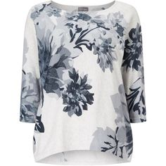 Phase Eight Breana Floral Print Knit Jumper (89 BAM) ❤ liked on Polyvore featuring tops, sweaters, clearance, white, white 3/4 sleeve sweater, 3/4 sleeve tops, boatneck sweater, white knit sweater and floral sweater