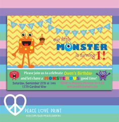 Our Little Monster 5x7 Printable Birthday by PeaceLovePrint, $7.99 #printable #birthday #invitation #littlemonster #partysupplies #stationary Little Monster Birthday Party
