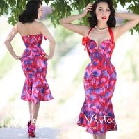 le palais vintage retro elegance a few deep V sexy fishtail dress hit the color purple