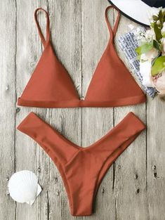 SHARE & Get it FREE | Soft Pad Spaghetti Straps Thong Bikini Set - Burnt Orange SFor Fashion Lovers only:80,000+ Items • New Arrivals Daily Join Zaful: Get YOUR $50 NOW!