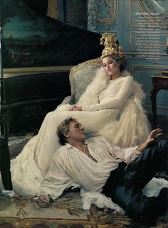 "Gisele Bündchen and Gérard Depardieu (right, on floor), photographed by Annie Leibovitz for ""French Twists"" editorial, Vogue May 2004."