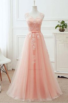 2018 Blush Pink Prom Dresses Long Appliques Lace Zipper Back Floor Length Tulle Illusion Formal Evening Party Dress Real. Pink Bridesmaid Dresses Long, Homecoming Dresses Long, Elegant Prom Dresses, Cute Prom Dresses, Tulle Prom Dress, Evening Dresses, Pastel Prom Dress, Pastel Pink Dresses, Soft Pink Dress