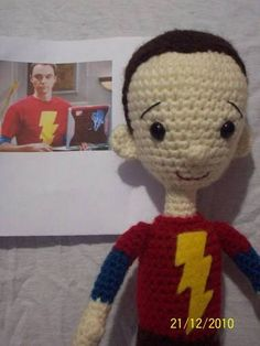 Crochet Sheldon Cooper...except he needs a frown or straight mouth because he's never happy