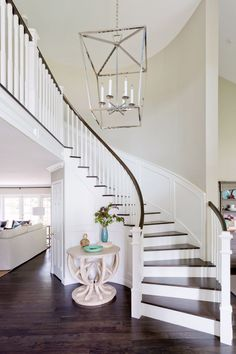 When you find yourself trying to decide upon a design and layout for your home staircase, it can be more than a bit of a challenge to pick something ple. Winding Staircase, Staircase Remodel, Staircase Makeover, Staircase Railings, Curved Staircase, Staircase Design, Stairways, Foyer Design, Iron Staircase