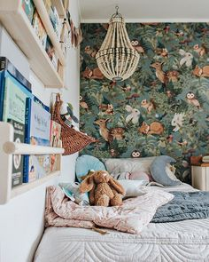 Kids Bedroom Inspiration – This beautiful wallpaper really sets the tone for the sweet woldfolk room. Kids Bedroom Inspiration – This beautiful wallpaper really sets the tone for the sweet woldfolk room. Girls Bedroom, Bedroom Decor, Bedroom Lighting, Bedroom Lamps, Bedroom Storage, Bedroom Green, Childs Bedroom, Trendy Bedroom, Design Bedroom