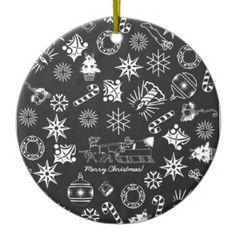 Merry Christmas Santa Symbols, Black and White Ornament