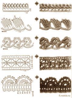 Crochet border patterns, http://www.liveinternet.ru/users/3798319/post135236243/
