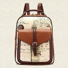 Women Backpack 2015 New Ladies Shoulder Bag Leather Printing Backpacks School Bags For Teenage Girls Book Bag Women LI-554
