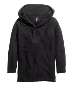 Long black hooded sweater with wool content.│ H&M Divided Guys