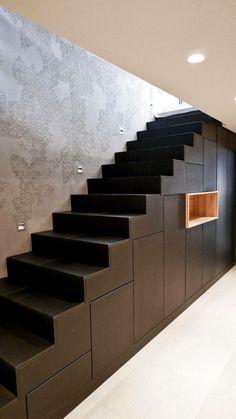 Wanner Agencements & ôdesignmural Ht Rhin Understairs Storage Agencements ôdesignmural Rhin Wanner Storage Under Staircase, Loft Staircase, Stair Storage, House Stairs, Stair Layout, Roof Truss Design, Stairs In Kitchen, Duplex Design, Home Stairs Design