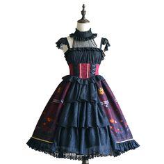 4070077859d Cosplay Costume Store. Gothic Halter Strapped Lolita Dress for Women Evil  Pumpkin Printing Sleeveless (Black ...