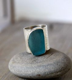 Sea Glass Ring Sterling Silver Aqua Sea Glass by MermaidCharms