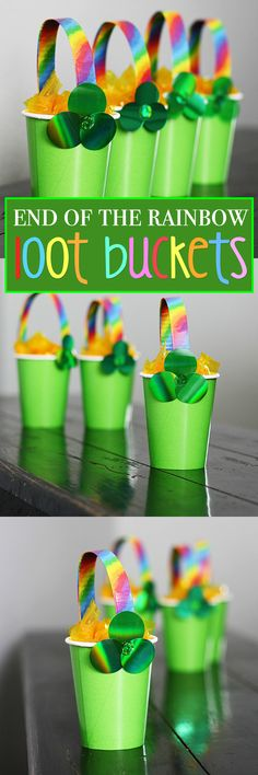 These End of the Rainbow Loot Buckets are perfect for parties! Fill them with trinkets, toys, and candy and send them home with your guests for St. Patrick's Day!