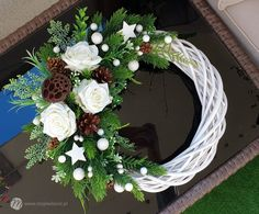 All Things Christmas, Christmas Time, Christmas Wreaths, Christmas Decorations, Holiday Decor, Grapevine Wreath, Red And White, Floral Wreath, Handmade