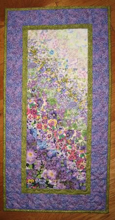 Purple And Green Quilt Bedspread Art Summer Garden Flower Fabric By Teal Lime Bedding - MoskooPhoto Watercolor Quilt, Watercolor Pattern, Hanging Quilts, Quilted Wall Hangings, Flower Quilts, Fabric Flowers, Landscape Art Quilts, Landscapes, Bargello Quilts