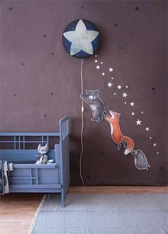 Another picture from our collection. The Little Star wall lamp sparkles through the night. Combine this with blue and white stars and the animal trio of little bear, fox and hedgehog. Happy Sunday to you all 💫. Nursery Wall Decor, Baby Room Decor, Fox Nursery, Space Themed Wallpaper, Room Wallpaper, Wall Ornaments, Star Wall, Kids Decor, Home Decor