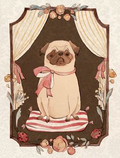 Pug Puppy print by KelseyGarrityRiley. $20.00, via Etsy.  We might need a whole wall for pug art in our next house.