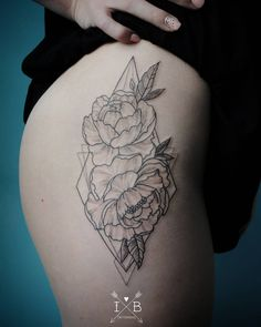 Peonies geometric tattoo by irene bogachuk #IB_TATTOOING