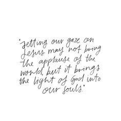 setting our gaze on Jesus