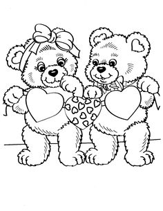 Heart Bears Teddy Bear Coloring PagesValentines Day