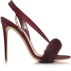 Olgana Paris Shoes L'amazone Burgundy Satin and Mink Sandal (£600) ❤ liked on Polyvore featuring shoes, sandals, cocktail shoes, holiday shoes, burgundy sandals, special occasion sandals and chain sandals