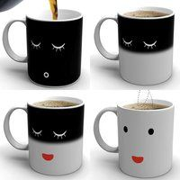 Morning Mug - $25 *goes where no mug has gone before: Magic Town.  When Morning Mug is cold the mug shows a sleeping face.  Pour in your hot coffee, tea or hot chocolate and Magic Mug wakes up!