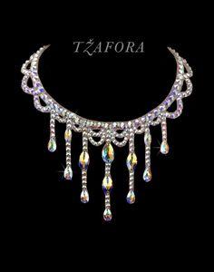 """Perfidia"" - Swarovski ballroom necklace. Ballroom dance jewelry, ballroom dance dancesport accessories. www.tzafora.com Copyright © 2016 Tzafora."
