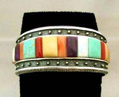 Hopi Indian Heavy Sterling Silver TUFA CAST Turquoise Multi-Gems Inlay Bracelet by Stever LaRance