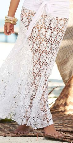 Summer style that counts. I love this because you can transition from the beach to lunch in this pretty White Lace Convertible Cover-Up