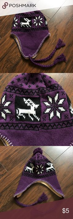 Women's winter hat! NWOT purple winter hat! Flaps to keep your ears warm! Pictured inside out to show a clean inside! Accessories Hats