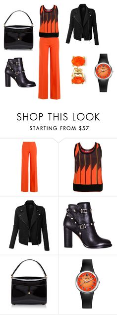 """noir orange"" by delmode ❤ liked on Polyvore featuring Diane Von Furstenberg, Chesca, LE3NO, Valentino, Marc Jacobs, Philip Stein and Bling Jewelry"