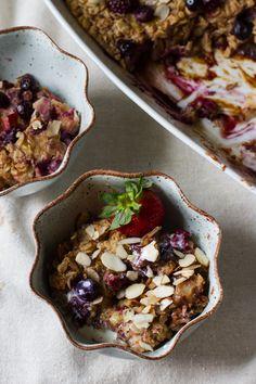 Rhubarb Berry BakedOatmeal - Edible Perspective