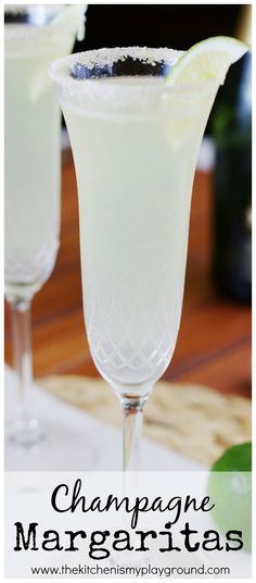 Champagne Margaritas w/ white tequila, triple sec, sweetened lime juice, sparkling wine/champagne (Pour Wine Cocktails)