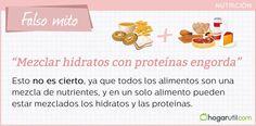 Falso mito de la nutrición. also mito: mezclar hidratos con proteínas engorda #salud #dieta